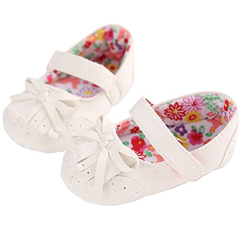 Infant Baby Girl's Tassle Soft Sole Mary Jane Floral Inner Flat Dress Crib Shoes with Bowknot White Size M