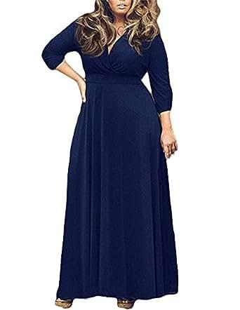 Chenghe Women's Solid V-Neck 3/4 Sleeve Plus Size Evening Party Maxi Dress Blue XXXL
