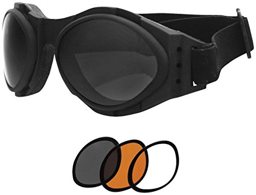 Bobster Bugeye 2 Interchangeable Goggles, Black Frame/3 Lenses (Smoked, Amber and Clear) (Womens Motorcycle Sunglasses Bobster)