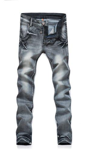 Wantdo Men New Fashion Casual Slim-fitting Stretch Skinny Jean 2014(Grey,34W)