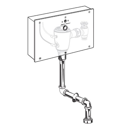 American Standard 6062.401.007 Concealed Flowise Selectronic 3/4-Inch Top Spud Urinal Flush Valve with Wall Box, AC Powered, .125 Gpf, Rough Brass