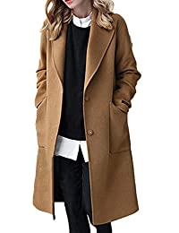 Womens Wool Coats Trenchcoat Long Sleeve Winter Woolen Long Overcoat Outwear