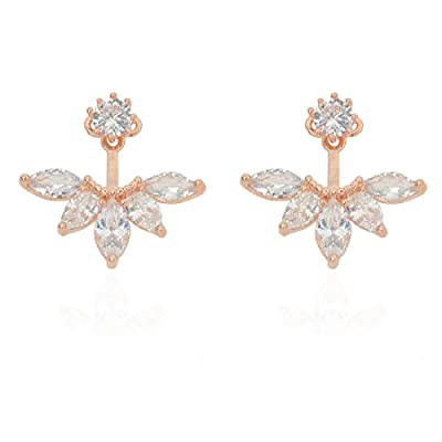 megko Fashion Lady Clear Crystal Leaf Feather Ear Jacket Earrings Back Ear Cuffs Stud Earring