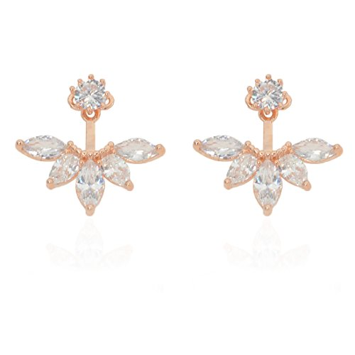 megko Fashion Lady Clear Crystal Leaf Feather Ear Jacket Earrings Back Ear Cuffs Stud Earring (rose gold)