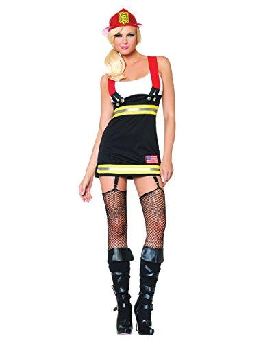 Sexy Fire Fighter Costume Girl Fire Woman Mini Dress Jumper Sizes: Small (Sexy Hula Costume)