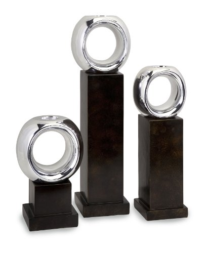 Carolyn Kinder Set - Carolyn Kinder Set of 3 Ellipse Candle Holders, Dark Brown/Silver