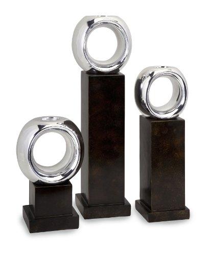 Carolyn Kinder Set of 3 Ellipse Candle Holders, Dark Brown/Silver