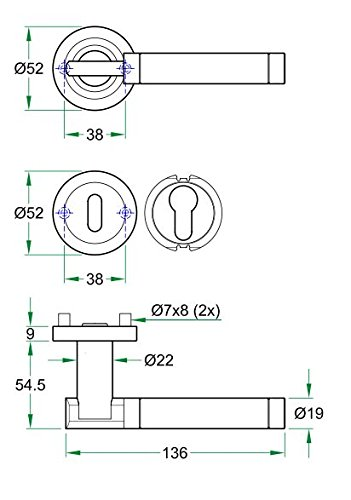 T/ürdr/ückergarnitur SALAGNA auf runder Schraubrosette mit beide BB und PZ Schl/üsselrosetten Edelstahl poliert//matt geb/ürstet T/ürbeschlag