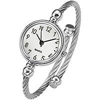 Top Plaza Womens Fashion Silver Tone Analog Quartz Bangle Cuff Bracelet Wrist Watch, Unique Elegant Stainless Steel Wire Band, Arabic Numerals - White