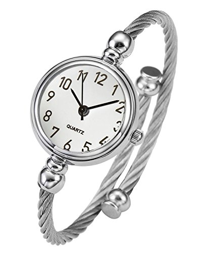 Top Plaza Womens Fashion Silver Tone Analog Quartz Bangle Cuff Bracelet Wrist Watch, Unique Elegant Stainless Steel Wire Band, Arabic Numerals - White
