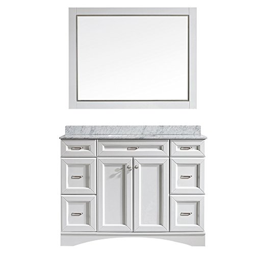 Vinnova 710048-WH-CA Modern Naples 48 inch Vanity In White with Carrera White Marble Countertop with Mirror,