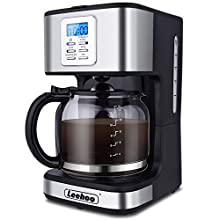 LEEHOO Drip Coffee Maker 2-12 Cup, Programmable Coffee Machine with Glass Carafe&Auto Shut-off&Brew Strength Control for Home and Office,Black and Stainless Steel Finish