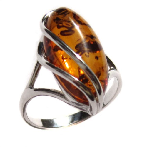 Honey Amber and Sterling Silver Designer Ring, Sizes (Amber Horse)