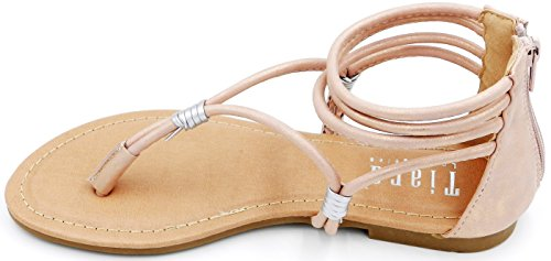 Womens New Fashion Strapy Faux Leather Ankle WrapFlat Gladiator Sandal Peach lSYdu9