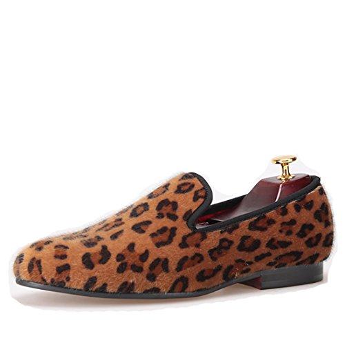 HI&HANN Handmade Leopard Prints Loafers Men Horsehair Shoes Slip-on Smoking Slipper Men Flats-10-Orange