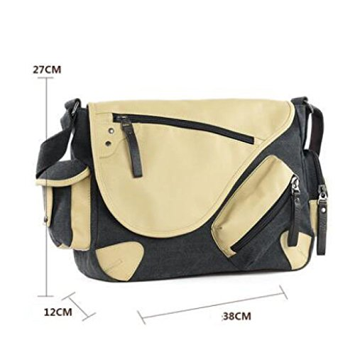 Pack Bag Black Canvas Mens Myll Messenger Shoulder nCxwFqXOwT