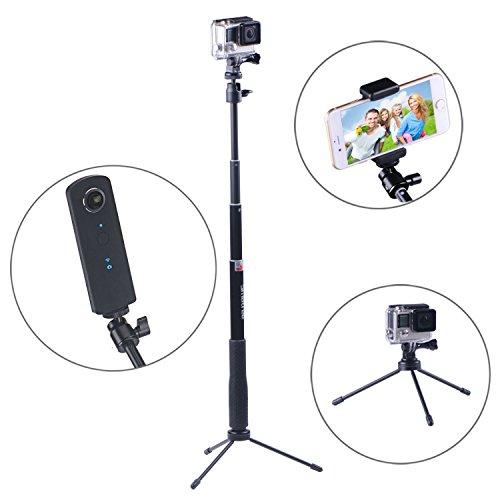 Smatree® SmaPole Q3 Erweiterbar Selfie Stick / Einbeinstativ +3 Beine Unterstützung für GoPro Hero, Hero 4/3+/3/2/1 hd Kameras & Kompaktkameras mit 1/4