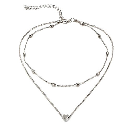 "Zen Styles Women's Mini Floating Heart Pendant Double Strand Choker Necklace with Lobster Clasp Closure, 13""-14"" (Silver Tone) (Heart Floating Double)"