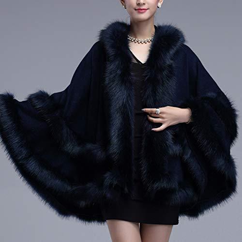 Cappotto Lavorato Mantella Large Outer Fur Liulife Scialle Donna Cappuccio Blue Upper Size A Autunno Capcho Inverno Indumento Faux Maglia Cardigan Collo Con 8qd6Pqw