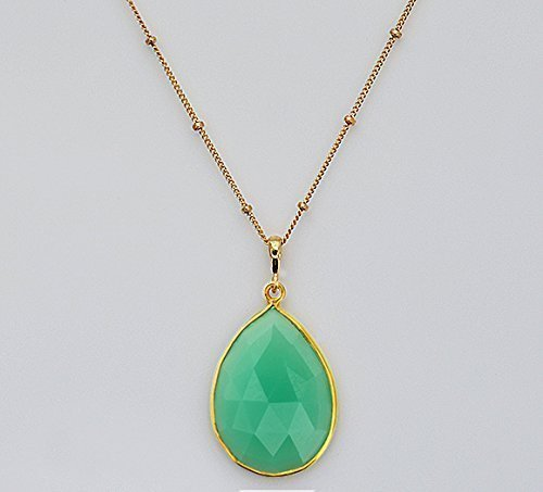 Chalcedony Drop Pendant - Large Pear Shape Chrysoprase Chalcedony Necklace, Large Statement Necklace, Teardrop Gemstone Pendant Necklace, 18x25mm Teardrop Necklace