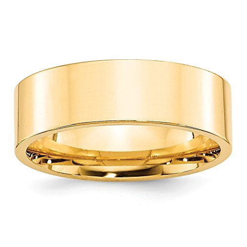 14k Yellow Gold 7mm Standard Flat Comfort Fit Band Size 9 by Saris and Things