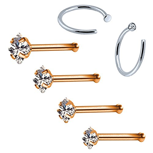 BodyJ4You 6PC Nose Stud Bone Hoop Ring 20G Rose Goldtone CZ Nostril Girl Women Piercing Jewelry