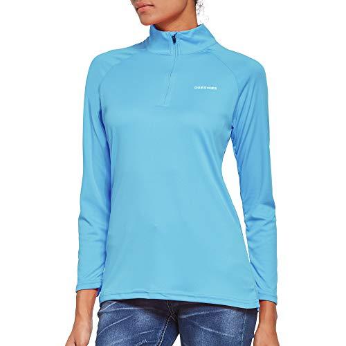Ogeenier Damesshirt met lange mouwen UPF 50+ UV-bescherming, lange mouwen, loopshirt, sportshirt met 1/4 rits, voor…