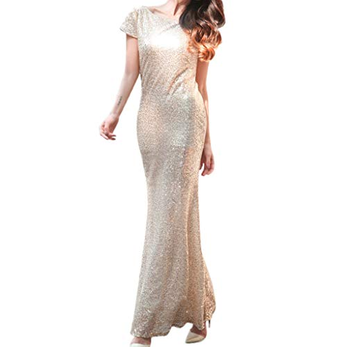(Women Formal Prom Gown Sexy Sequins Bodycon Maxi Dress Bridesmaid Backless Stacked Collar Long Dresses)