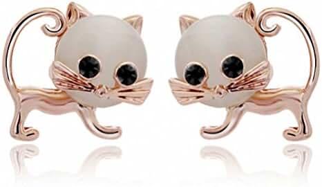 Fashion Women Earrings Lovely Cat Shape Opal Stud Earrings for Girls Gold Plated
