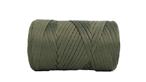 (Glossy Tape Yarn 110 Yards/Bulky Yarn/Fast Track/Crochet/Knitting Yarn/XL Yarn/Modern Crochet/Ribbon Yarn (Olive))
