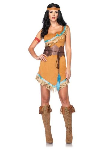 Leg Avenue Disney 3Pc. Pocahontas Costume Includes Dress Belt and Headband, Tan, Medium/Large (Pocahontas Dress Costumes)