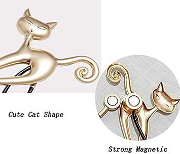 Ruixia Lot de 2 embrasses magn/étiques pour Rideaux Motif Chat Mignon Bronze Taille Unique