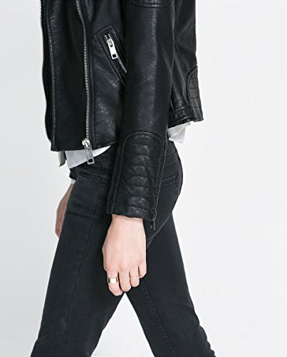 Black leather waterfall jacket zara