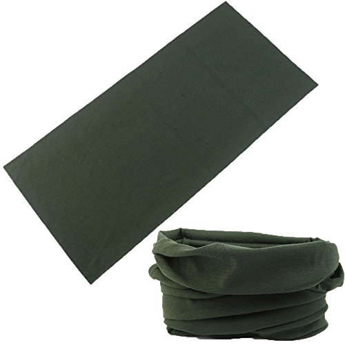 Multifunctional 16-in-1 Yoga Sports Fashion Travel Colors Headband Seamless Neck Uv Buff Solid Moisture Wicking Bandana Turban Scarf (3army green)