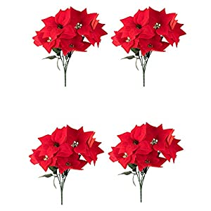 Juvale Red Poinsettia Christmas Decorations - 4-Pack Decorative Flowers with Stem, Artificial Plant and Christmas Tree Ornament for Home Office Decoration 1