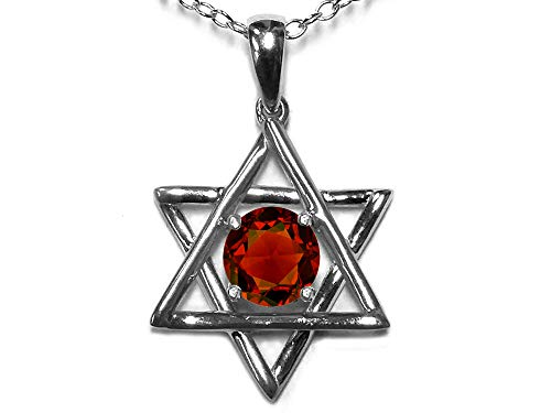 Star K Jewish Star of David Pendant Necklace with Round Genuine Garnet 14 kt White Gold