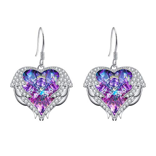 (EleQueen Women's Silver-tone Angel Wing French Hook Dangle Heart Earrings Adorned with Swarovski Crystals Vitrail Light)