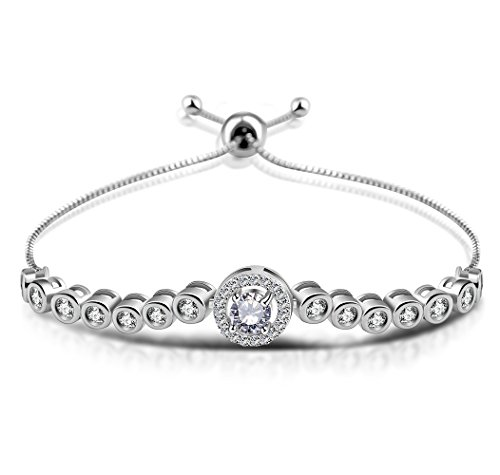 Cubic Zirconia Silver Tennis Platinum Plated Bolo Charm Adjustable Bracelet for Wmoen(Cubic-d) by Cuicanstar