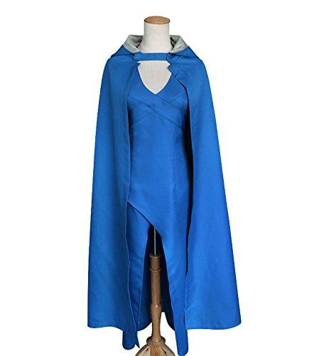 COSKING Daenerys Targaryen Costume for Women, Halloween Dragon Queen Cosplay Dress&Cloak Blue (Small) ()