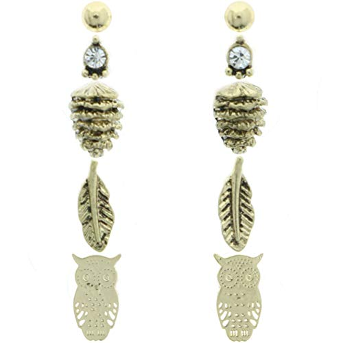 (Mi Amore Pinecone Feather Owl Multiple-Earring-Set Gold-Tone)