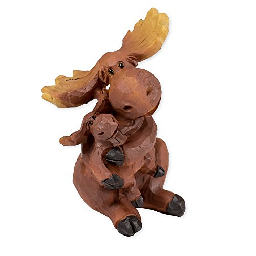 Slifka Sales Co. Mama Moose Hugging Baby 4 x 3 x 2 Inch Resin Crafted Tabletop Figurine