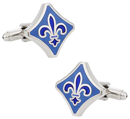 (Cuff-Daddy Blue Fleur De Lis Mardi Gras New Orleans Cufflinks with Presentation Box)