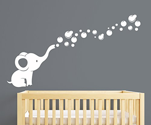 Elephant Bubbles Nursery Wall Decal Room Decor (White)