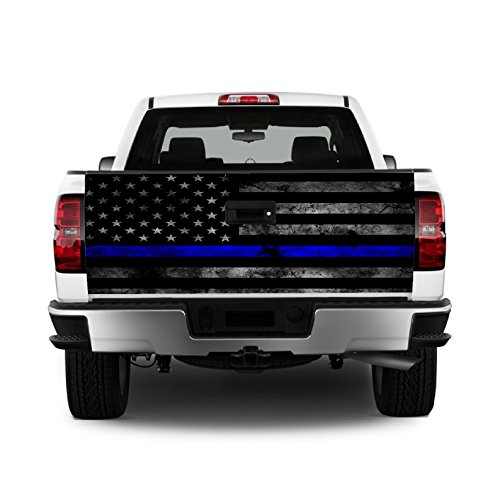 Tailgate Wrap T329 Police Flag Distressed Vinyl Graphic Decal Sticker F150 F250 F350 Ram Silverado Sierra Tundra Ranger Frontier Titan Tacoma 1500 2500 3500 Bed Cover ()