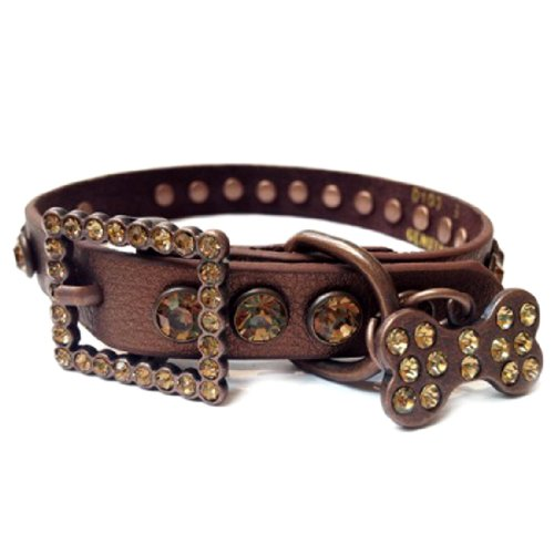 Copper Brown Leather Dog Collar with a Row of Topaz Brown Rhinestones, Size M