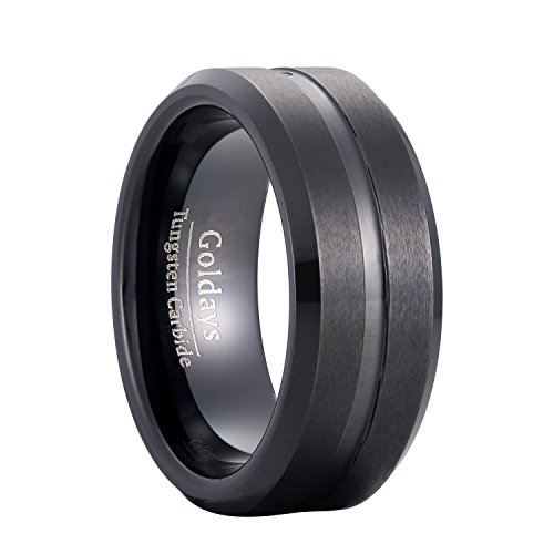 GOLDAYS Men's 8mm Black Tungsten Carbide Ring Grooved Center High Polished Comfort Fit Wedding Band Ring (9.5) by GOLDAYS
