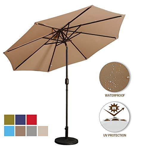 Aok Garden 9 Feet Outdoor Market Patio Umbrella with Push Button Tilt and Crank Lift Ventilation,8 Sturdy Ribs Non-Fading Sunshade,Taupe Color