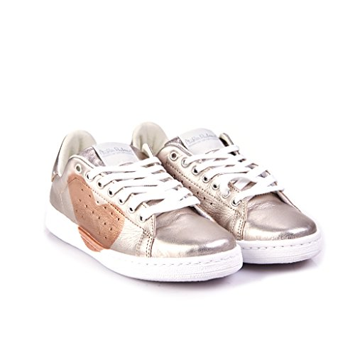 SNEAKERS CUORE DONNA PELLE CUORE PELLE PLATINO RAME ...