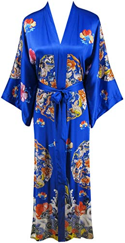 Ledamon Women's 100% Silk Kimono Long Robe - Classic Colors and Prints (Sapphire -