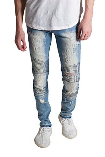 7413065d121 KDNK Men s Skinny Fit Stretch Denim 5 Pocket Zipper Fly Destroyed Moto  Biker Jeans (30